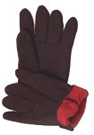 Brown Jersey Gloves w/Fleece Lining Dozen