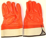 Fluorescent Orange Safety Cuff PVC Gloves Pair