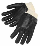 Sandy Finish Black PVC Knit Wrist Gloves Pair
