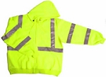 ANSI 107 Class 3 Hooded Safety Sweatshirt Jacket Lime