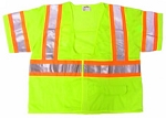 ANSI 107 Class 3 Safety Vest Lime - Two Tone w/Velcro CASE of 36 Vests