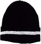 Black Beanie / Knit Hat with Reflective Stripe