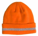 Hi Viz Fluorescent Orange Beanie Knit Hat