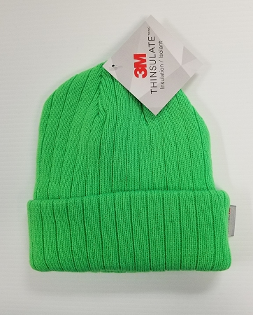 cd260e2ae Hi Viz Neon Fluorescent Green Winter Knit Beanie Hat with 3M Thinsulate  Lining