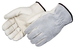 Grey Grain Leather Driver Glove Pair