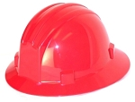 Hardhat Safety Helmet Full Brim 4 Point Ratcheted Red