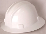Hardhat Safety Helmet Full Brim 4 Point Ratcheted White