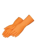 Orange Heavy Duty Neoprene & Rubber Flock Lined  Gloves 1 Dozen Pairs