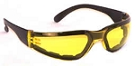 Chirons Wraparound Safety Glasses Padded Amber Yellow Lenses