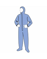 SMS  19122B Coveralls w/ Hood and Boots Case of 25 BLUE
