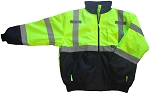 ANSI 107 Class 3 Safety Bomber Jacket Lime with Black Bottom
