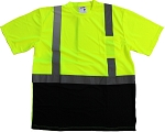 ANSI 107 Class 2 Safety T-Shirt Lime with Black Bottom Front