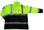 ANSI 107 Class 3 Safety Windbreaker Jacket Lime with Black Bottom Front