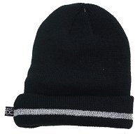 Black Beanie with Coral Fleece Lining and Reflective Stripe