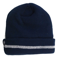 Navy Blue Beanie with Coral Fleece Lining and Reflective Stripe