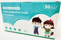 KID'S DISPOSABLE SMALL 3-PLY CHILD FACE MASK - BOX OF 50