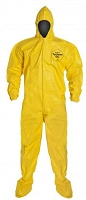 DuPont Tychem 2000 QC122B Disposable Chemical Resistant Coverall with Hood and Elastic Cuff, Yellow  1 Pc