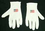 Premium Weight Cotton Gloves USA Flag Logo 6 PRS