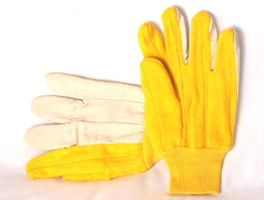 Yellow/White Knit Wrist Chore Gloves Dozen