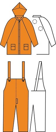 3 Piece Orange PVC Rain Suit