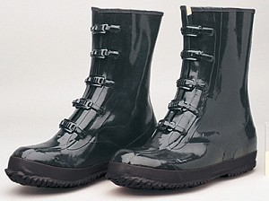 Black Rubber 5 Buckle Work Boots
