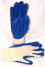 Blue Latex Coated Gloves Case of 300 Pairs