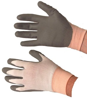PU Coated Gloves Grey on White Case of 144 Pairs