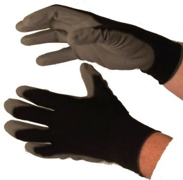PU Coated Gloves Grey on Black Case of 144 Pairs
