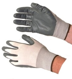 Nitrile Coated Gloves Grey on White Case of 144 Pairs