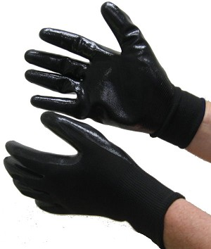 Nitrile Coated  Gloves Black on Black Dozen
