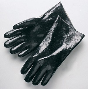 "Semi-Rough Finish 14"" Black PVC Gloves Pair"
