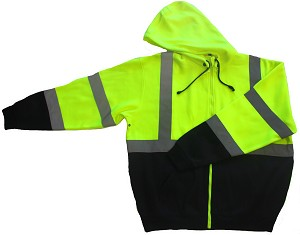 ANSI 107 Class 3 Hooded Safety Sweatshirt Jacket Lime with Black Bottom