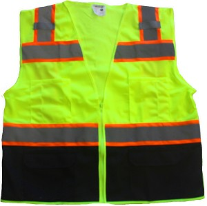 ANSI 107 Class 2 Safety Vest Lime - Two Tone with Black Bottom