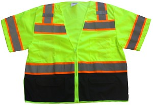 ANSI 107 Class 3 Mesh Safety Vest Lime - Two Tone with Black Bottom