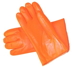 Fluorescent Orange Gauntlet Cuff PVC Gloves Pair