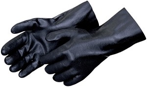 "Sandy Finish Black PVC 12"" Gloves Pair"