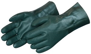 "Sandy Finish Green PVC 14"" Gloves Pair"