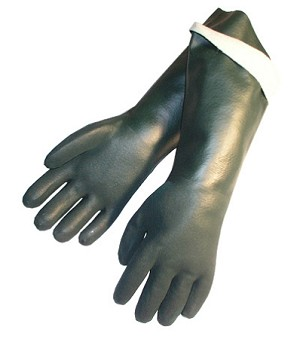 "Sandy Finish Green PVC 18"" Gloves Pair"