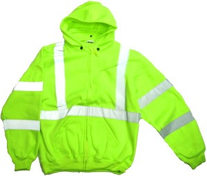 ANSI 107 Class 3 Hooded Safety Sweatshirt Jacket Lime - X Back