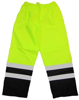 ANSI 107 Class E Waterproof Safety Pants Lime with Black Bottoms