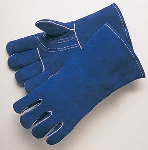 Premium Blue Leather Welder Glove Pair