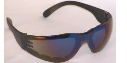 Chirons Wraparound Safety Glasses Padded Blue Mirror Lenses